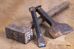 Hammer with two chisels Royalty Free Stock Photos