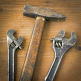 Hammer and two wrenches Royalty Free Stock Photography