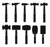 Hammer types silhouette Stock Photo