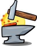 Hammer- und Ambossclipartkarikatur Stockbild