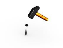 Hammer und ein Nagel. lizenzfreie abbildung