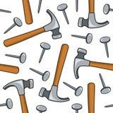 Hammer-und Nagel-nahtloses Muster Stockfotografie