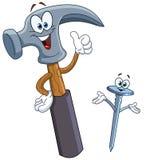 Hammer und Nagelkarikatur Stockfoto