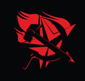 Hammer-und Sichel-Kommunismus-Symbol-Rot auf Schwarzem Lizenzfreie Stockfotografie