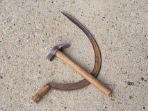 Hammer und Sichel-Symbol des Kommunismus stockbilder