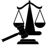 Hammer und Skalen von Gerechtigkeit Lizenzfreies Stockbild