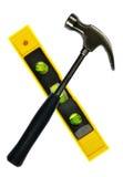 Hammer und Wasserwaage stockfoto