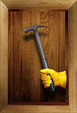 Hammer in a wooden box Royalty Free Stock Images