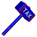 Hammer with word Tax Stock Photography