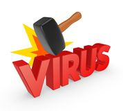 Hammer and word VIRUS. Stock Photos