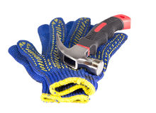 Hammer and work gloves royalty free stock photos
