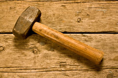 Hammer on a workbench Stock Photo