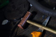 Hammer on workbench Royalty Free Stock Image