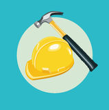 Hammer and worker hat flat icon Royalty Free Stock Photo