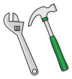 Hammer and wrench Royalty Free Stock Images