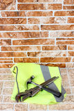 Hammer and wrench on brick Royalty Free Stock Images