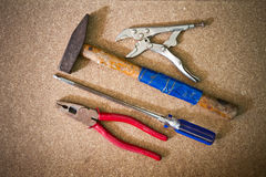 Hammer wrench screwdriver Stock Images