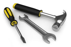 Hammer, wrench and screwdriver Royalty Free Stock Photos