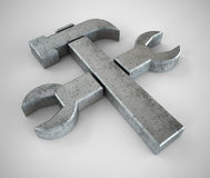 Hammer and wrench symbol Royalty Free Stock Photo