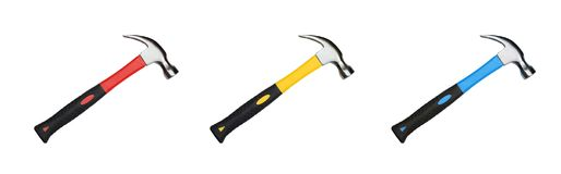 Hammer with yellow and black handle isolated on white Royalty Free Stock Images