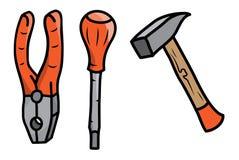 Hammer, Zangen und Schraubenzieher, Satz Handwerkzeuge in der Karikaturart Lizenzfreies Stockfoto