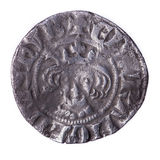 Hammered silver penny of Edward I obverse Royalty Free Stock Photos
