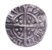 Hammered silver penny of Edward I reverse Stock Image