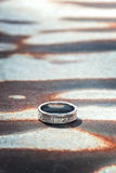 Hammered silver ring Stock Photo