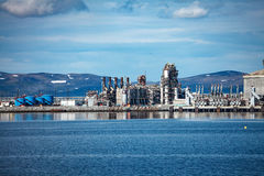 Hammerfest Island Muolkkut Northern Norway, gas processing plant Stock Photos
