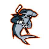 Hammerhai-Eis-Hockey-Spieler-Maskottchen Lizenzfreie Stockfotografie