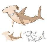 Hammerhai-Haifisch-Zeichentrickfilm-Figur der hohen Qualität umfassen flaches Design und Linie Art Version Stockbilder
