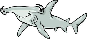 Hammerhaihaifisch-Karikaturillustration Lizenzfreie Stockfotos