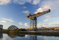 Hammerhead. Crane at sunset on the bank of the River Clyde stock images