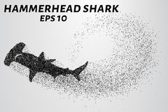Hammerhead rekin od cząsteczek Rybi młot składać się z mali okręgi również zwrócić corel ilustracji wektora Fotografia Royalty Free