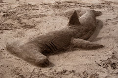Hammerhead Shark Made Of Sand Stock Photos