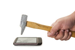 Hammering on the display Royalty Free Stock Photography