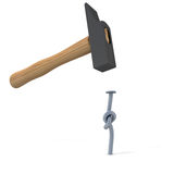 Hammering frustration. 3D rendering of a hammer with a knotted nail on a white background Royalty Free Stock Image