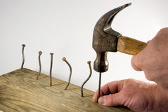 Hammering hands Royalty Free Stock Image