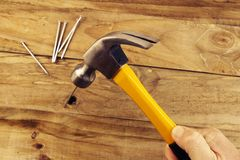 Hammering nail Royalty Free Stock Photos