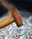 Hammering Socialism in America. Sledgehammering money in America with Socialism royalty free stock photos