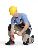 Hammering worker. Royalty Free Stock Photo