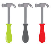 Hammers. With plastic handles on a white background royalty free illustration