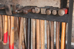 Hammers are aligned in a workshop (France) Royalty Free Stock Image