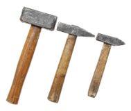 Hammers big large medium small wooden Stock Image