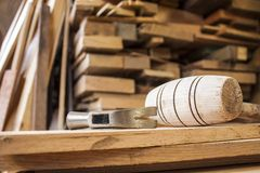 Hammers on carpentry. Wooden background royalty free stock image