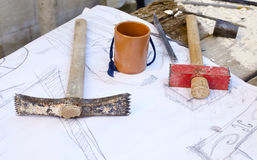 Hammers and chisels to carve the stone Royalty Free Stock Photo