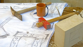 Hammers and chisels to carve the stone Stock Images