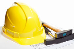 Hammers, hardhat and blueprint Royalty Free Stock Images