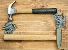 Hammers and nails Stock Photography