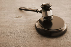 Hammers`s judiciary. On wooden background stock image